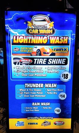 car wash digital menu